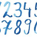 Blue Watercolor Numbers (PNG Transparent)