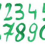 Green Watercolor Numbers (PNG Transparent)
