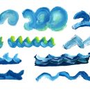 10 Ocean Wave Paint Brush Stroke (PNG Transparent)