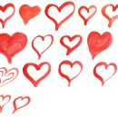 15 Red Watercolor Heart (PNG Transparent)