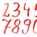 Red Watercolor Numbers (PNG Transparent)