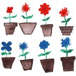 8 Watercolor Flower in Pot (PNG Transparent)