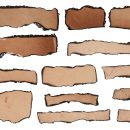 13 Burnt Paper Label Banner (PNG Transparent)