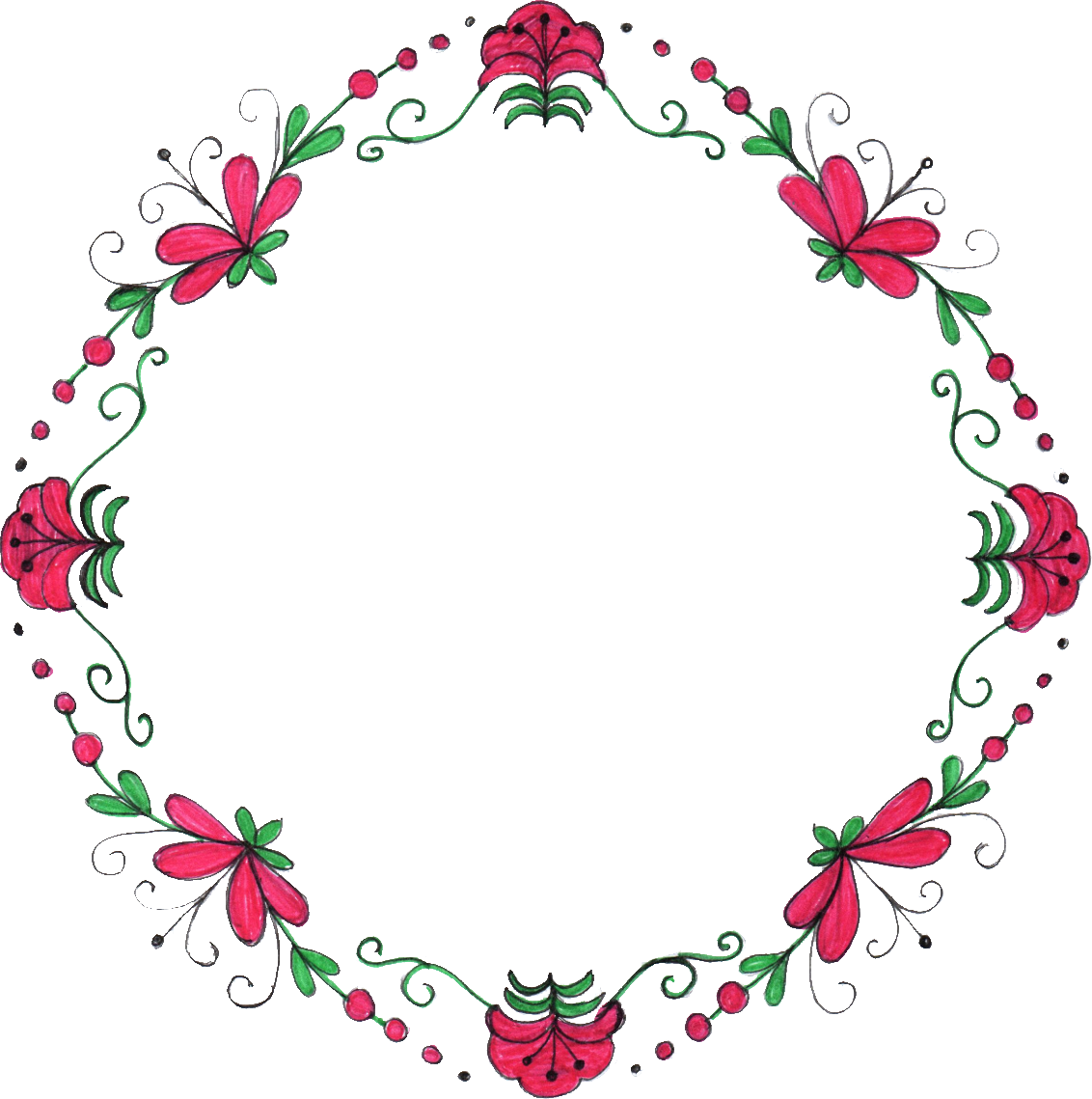 8 Circle Flower Drawing Frame (PNG Transparent) | OnlyGFX.com
