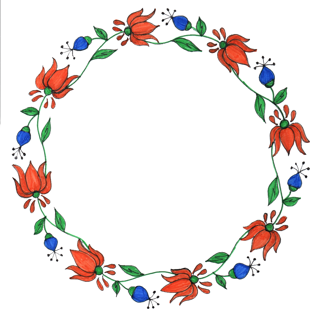 Flower Circle Line Drawing : Circle flower drawing frame png transparent onlygfx