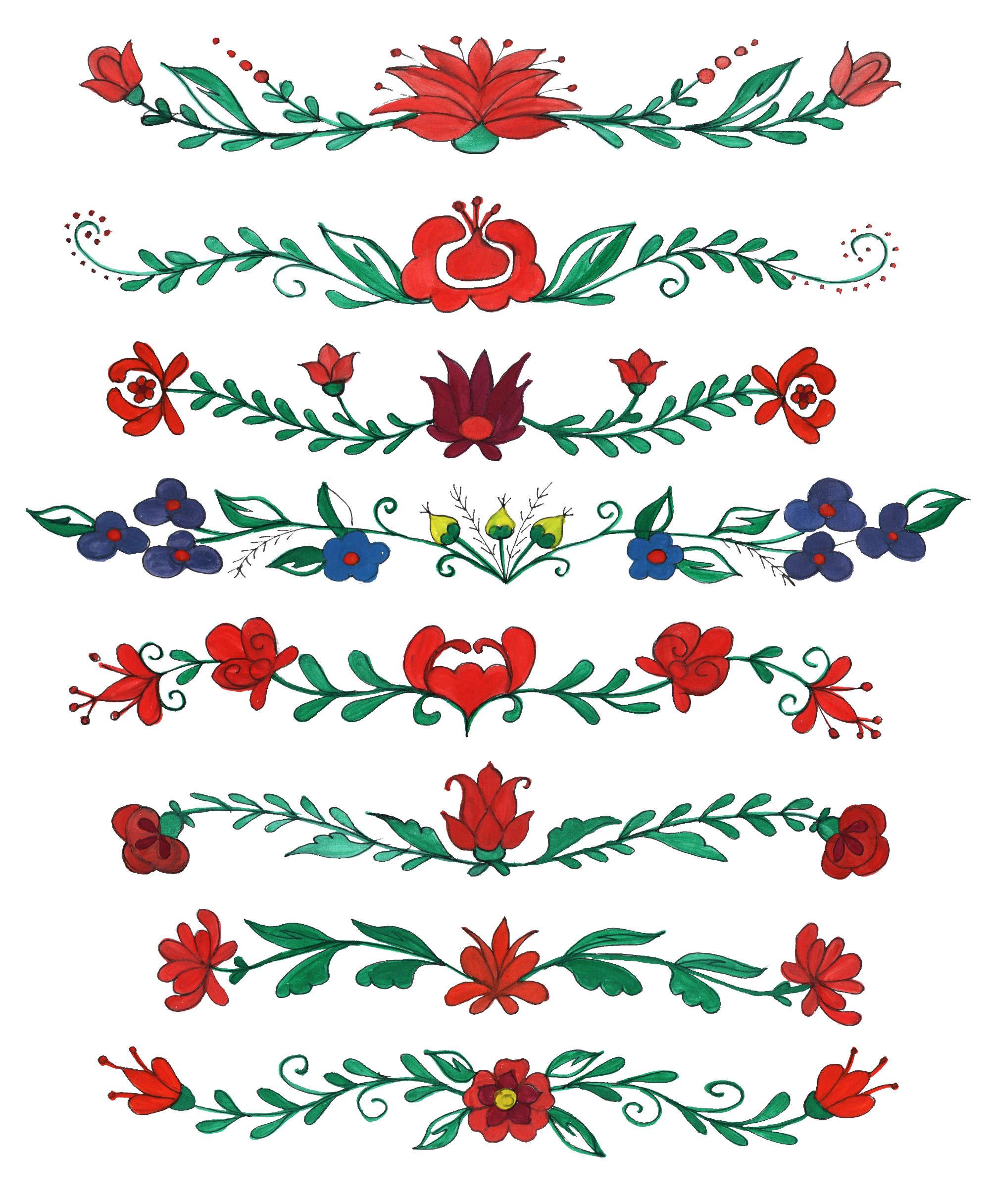 8 Flower Border Drawing PNG Transparent