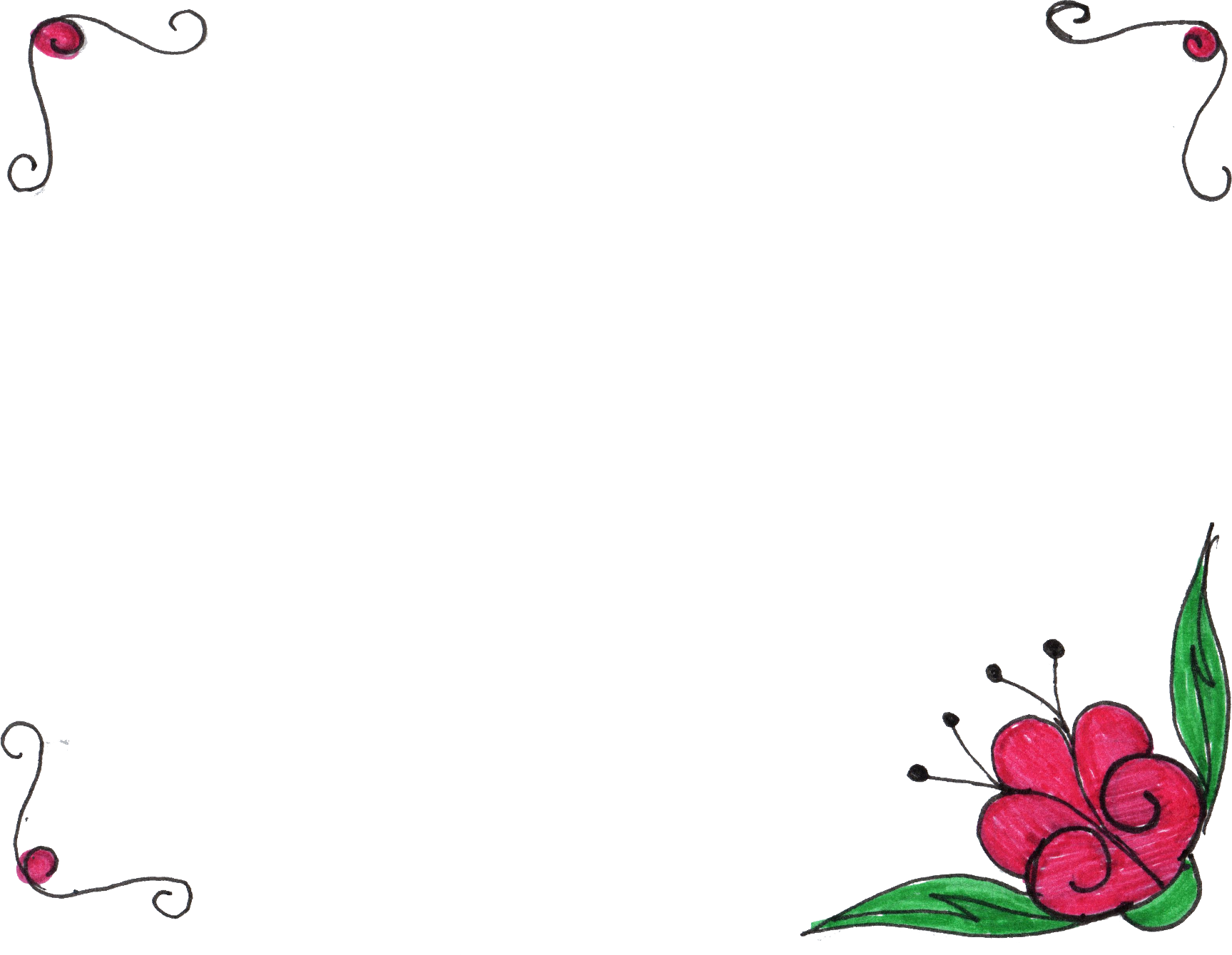 Flowers Vector Drawing Png: 8 Flower Frame Drawing (PNG Transparent)