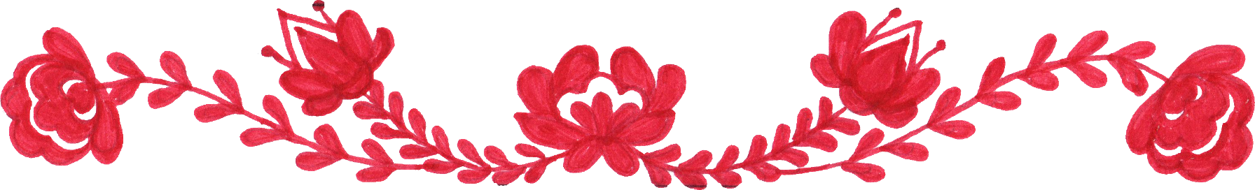 8 Red Flower Border Drawing (PNG Transparent) | OnlyGFX.com
