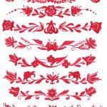 8 Red Flower Border Drawing (PNG Transparent)