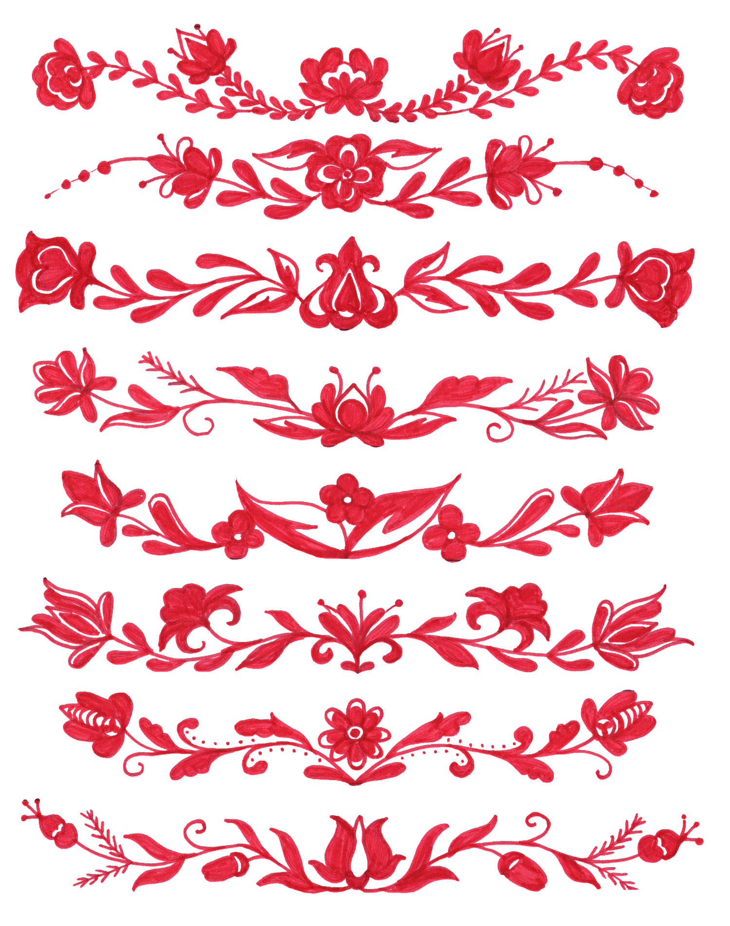8 Red Flower Border Drawing Png Transparent Onlygfxcom