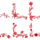 6 Red Flower Corner Ornament (PNG Transparent)