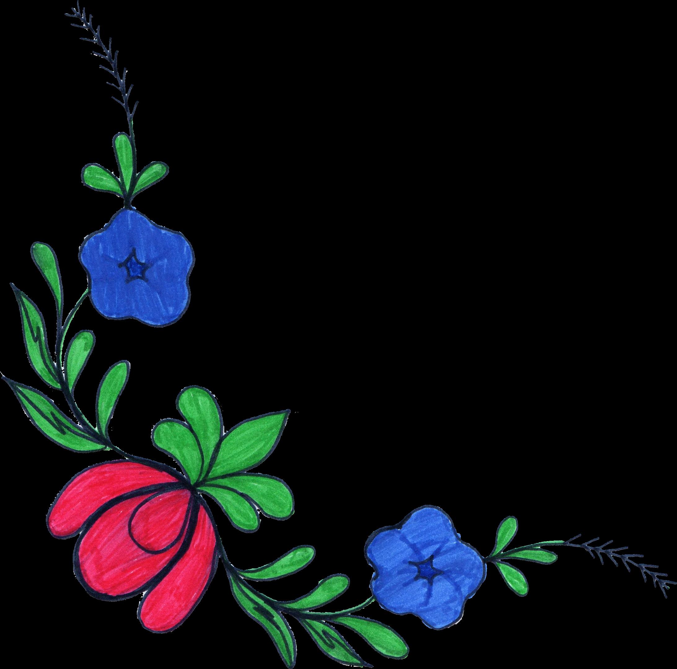 5 flower corner drawing  png transparent