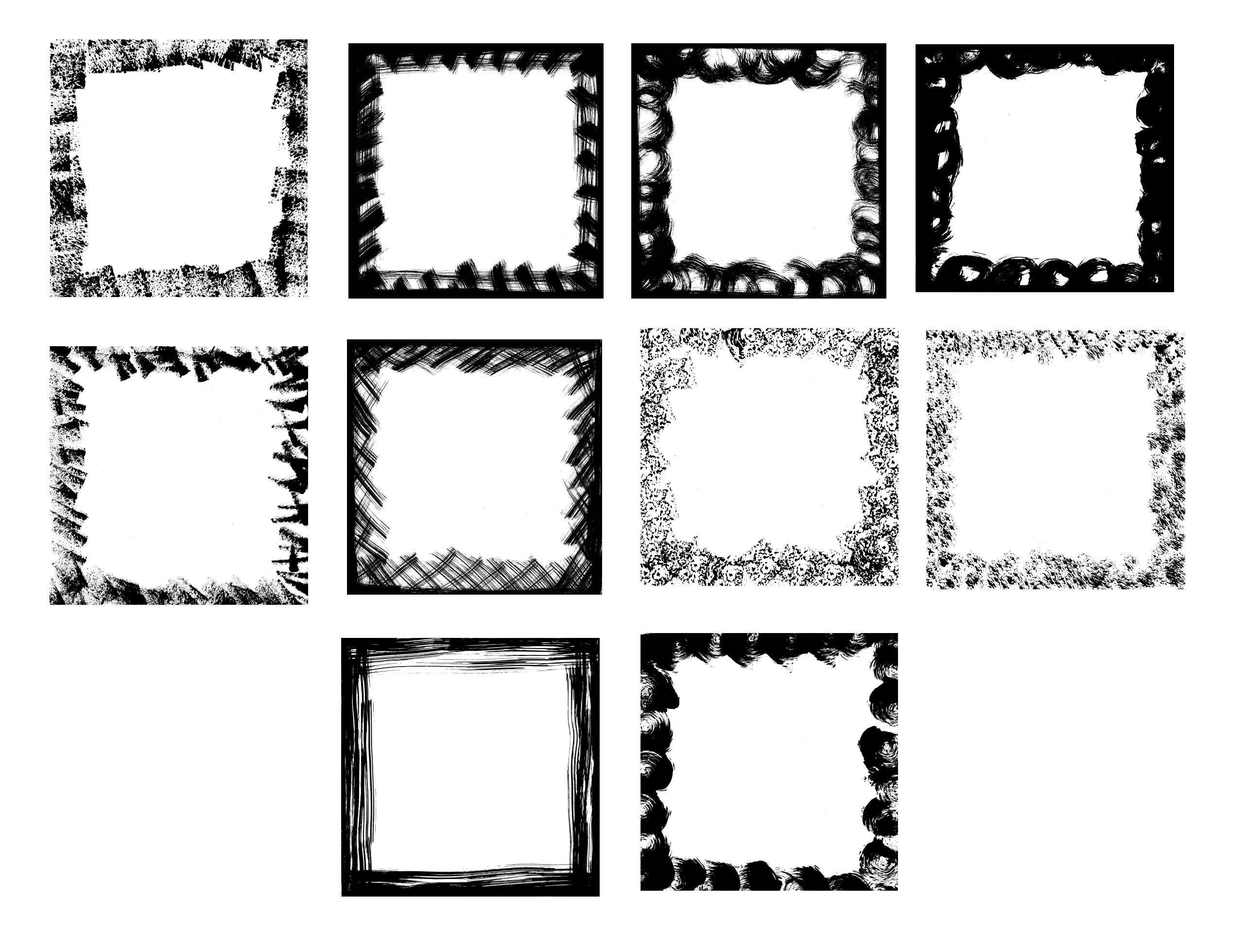 10 Square Grunge Frame (PNG Transparent) Vol. 2 | OnlyGFX.com