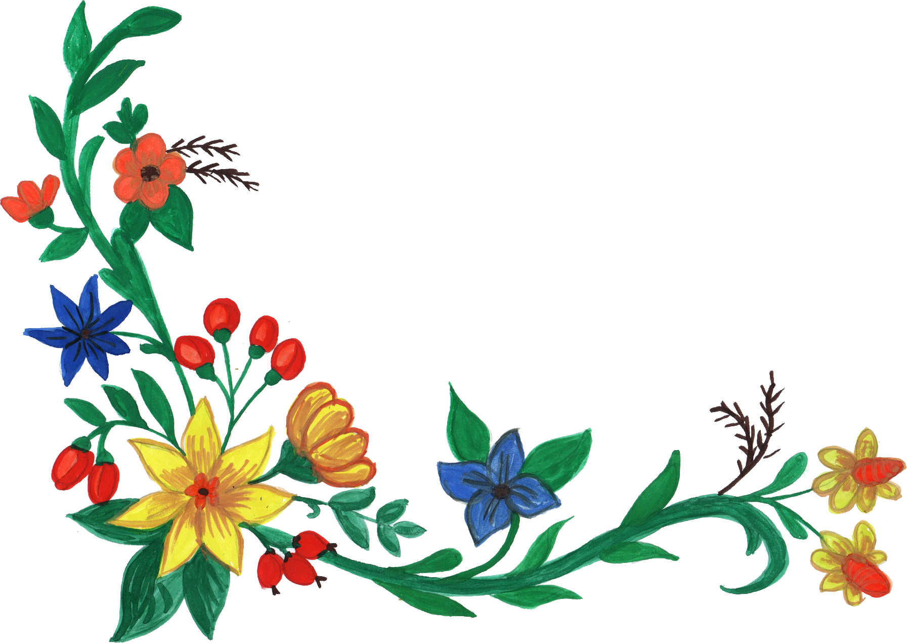 5 Watercolor Flower Corner PNG Transparent Vol 2