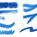 8 Dry Blue Watercolor Brush Stroke (PNG Transparent)
