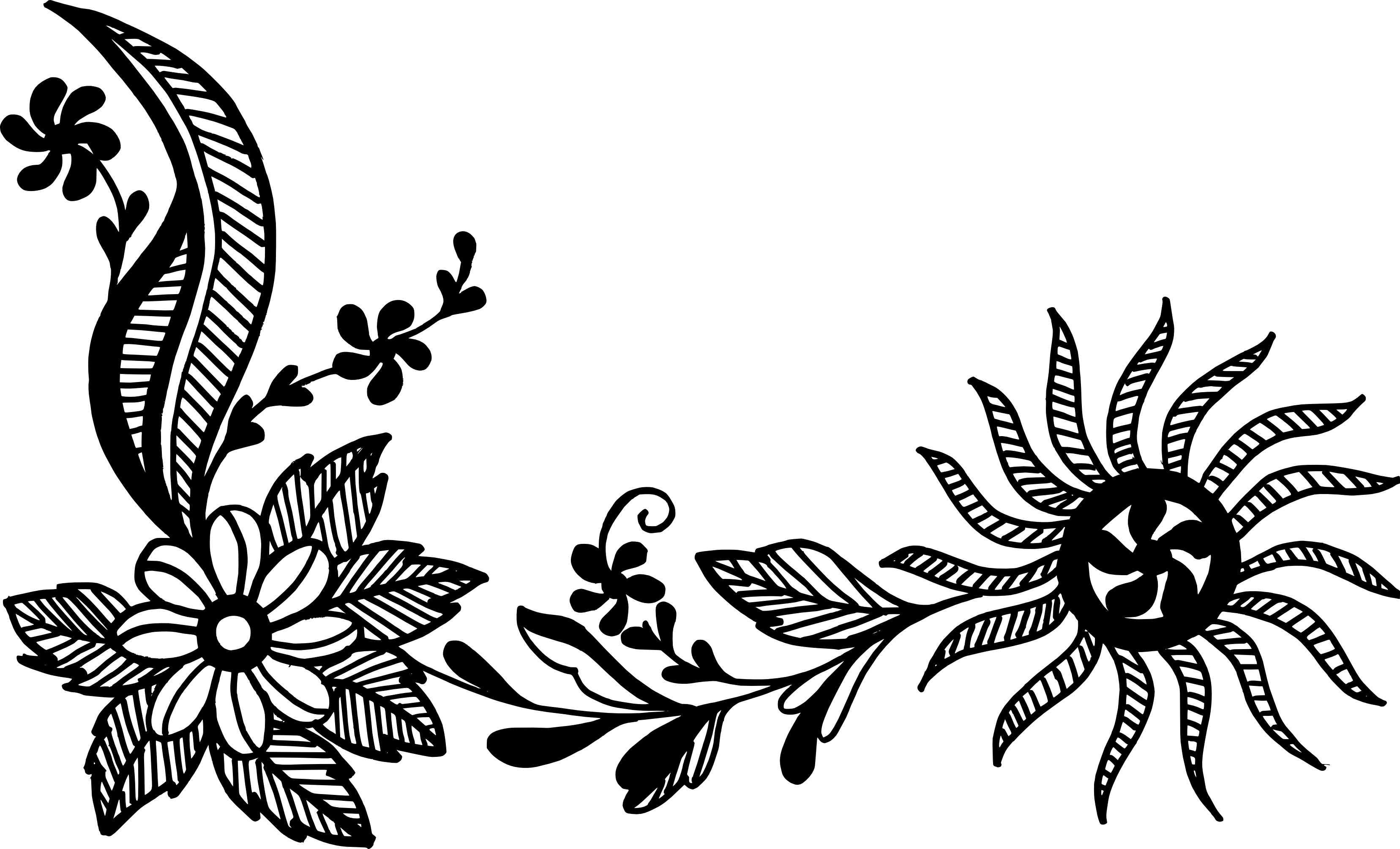 Line Art Vector Png : Flower corner vector png transparent svg vol