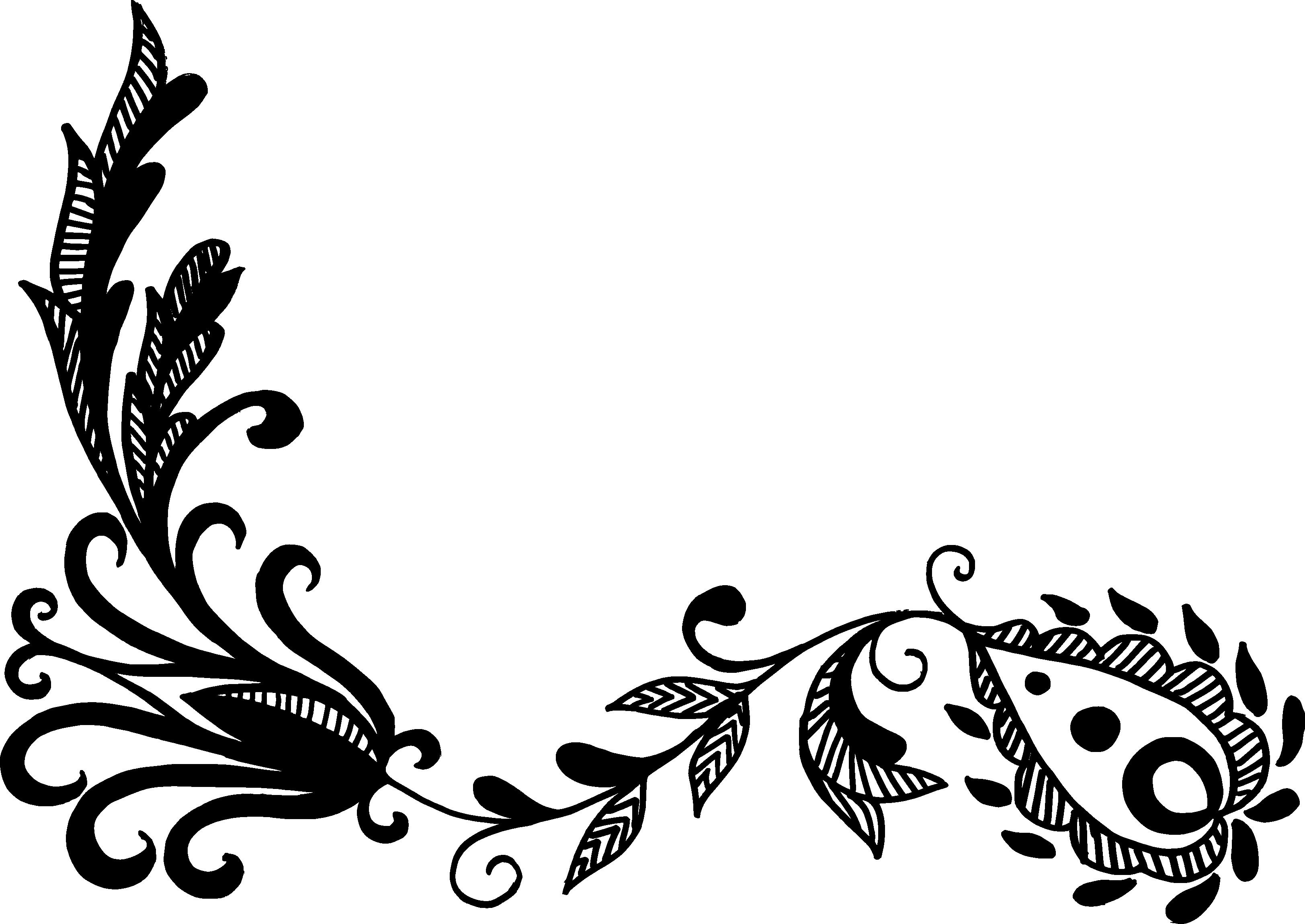 Line Art Flower Design : Flower corner vector png transparent svg vol onlygfx