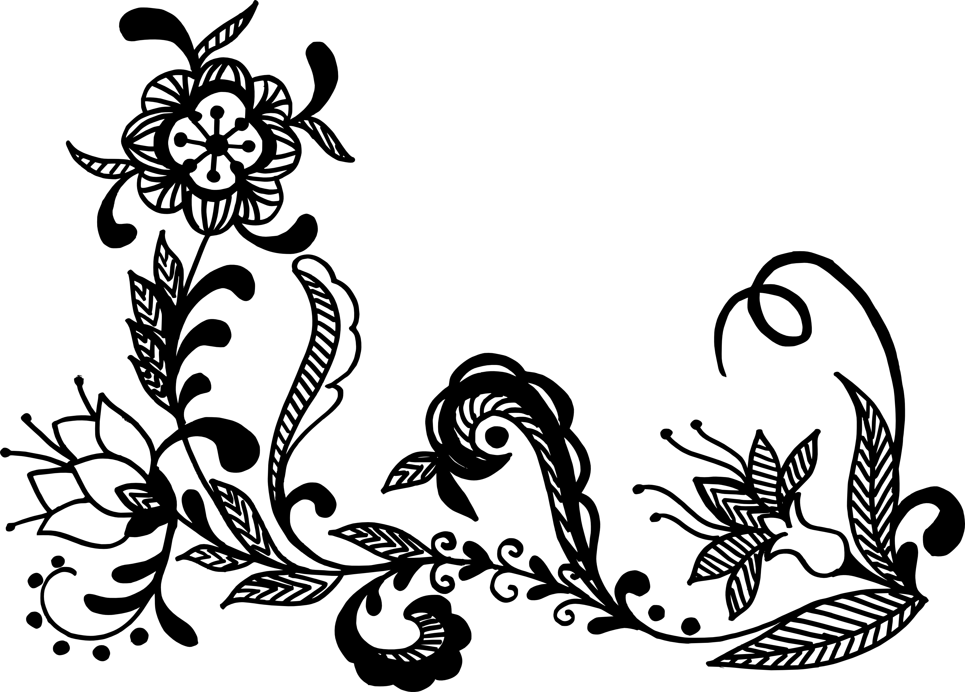 Line Art Flower Png : Flower corner vector png transparent svg vol