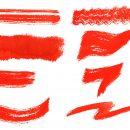 8 Dry Red Watercolor Brush Stroke (PNG Transparent)