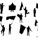 10 Person with Flag Silhouette (PNG Transparent)