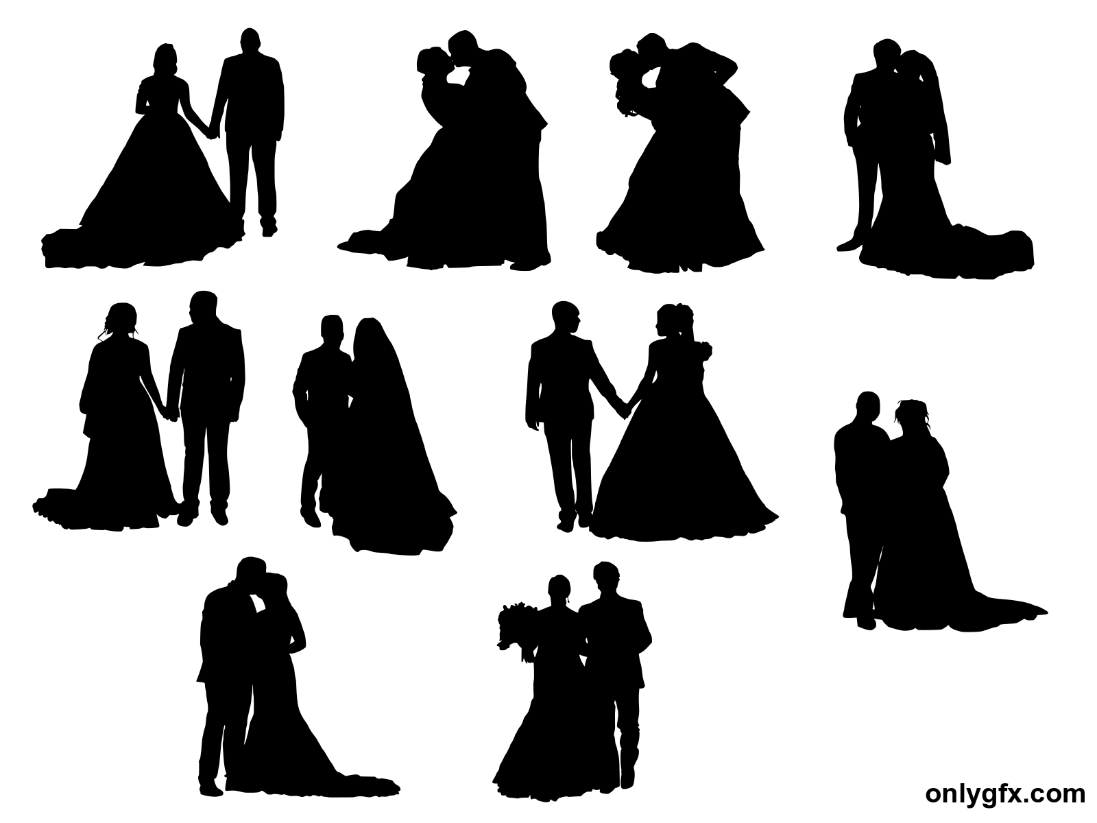 10 Bride And Groom Silhouette Png Transparent Onlygfx Com
