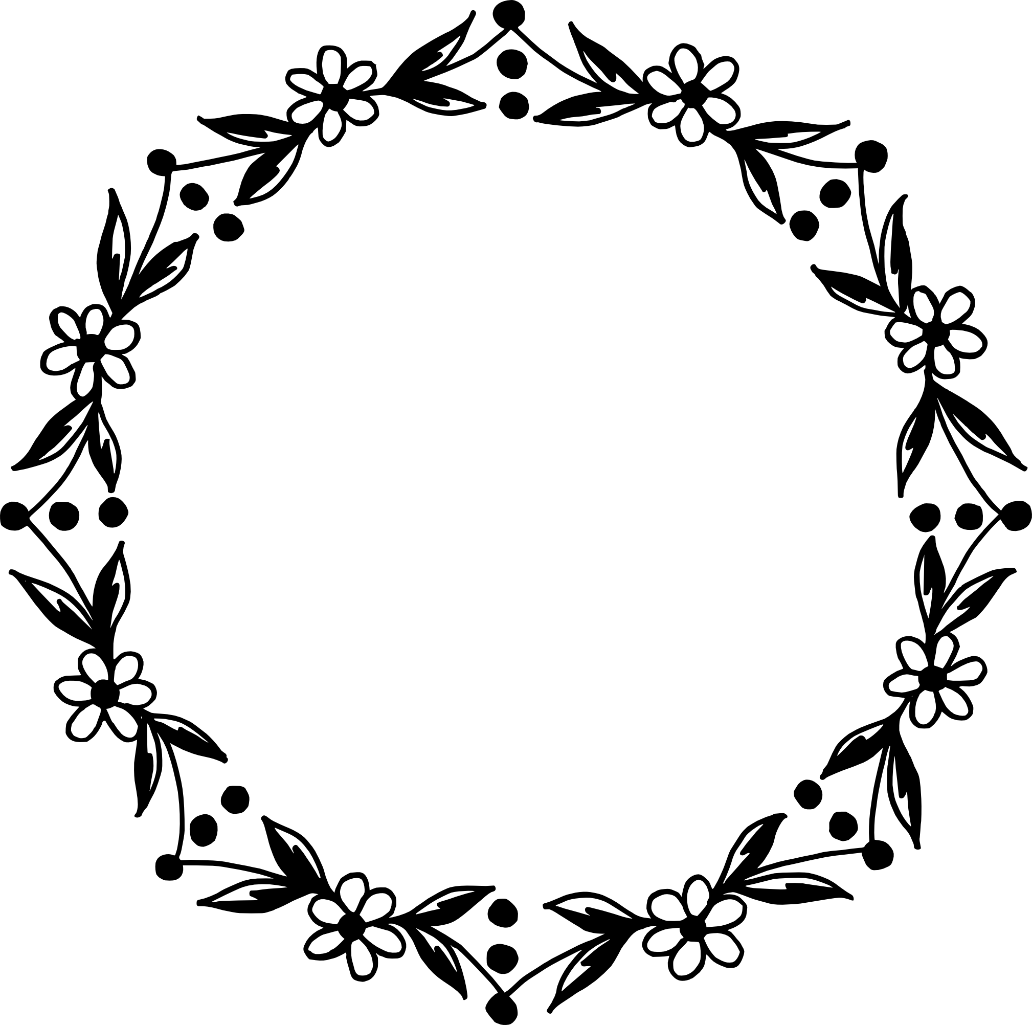 10 Circle Floral Frame Vector (PNG Transparent, SVG