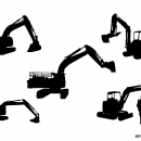 5 Excavator Silhouette (PNG Transparent)