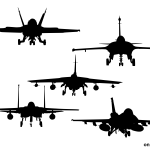 5 Fighter Plane Front View Silhouette (PNG Transparent)