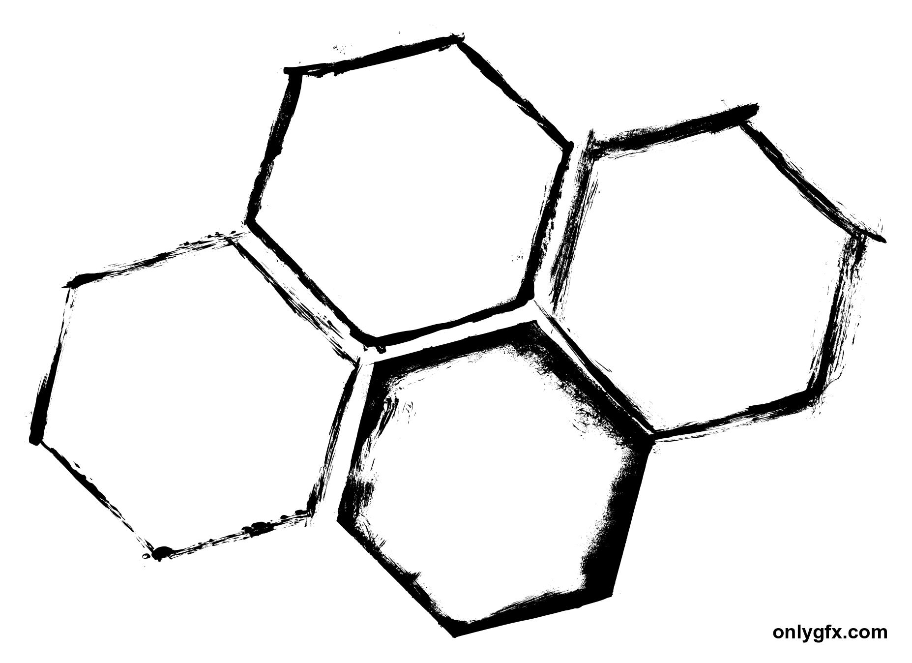 4 Grunge Hexagon Frame (PNG Transparent) | OnlyGFX.com