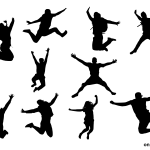 10 Person Happy Jump Silhouette (PNG Transparent)
