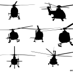 7 Helicopter Front View Silhouette (PNG Transparent)