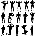 15 Muscle Man Body Builder Silhouette (PNG Transparent)