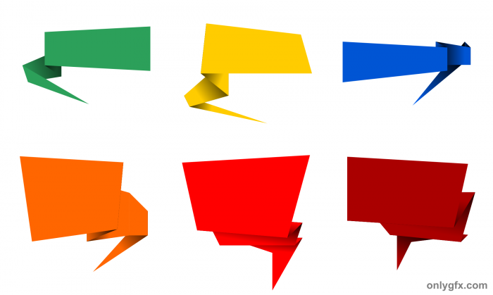 6 Origami Speech Bubble Banner Vector PNG Transparent SVG