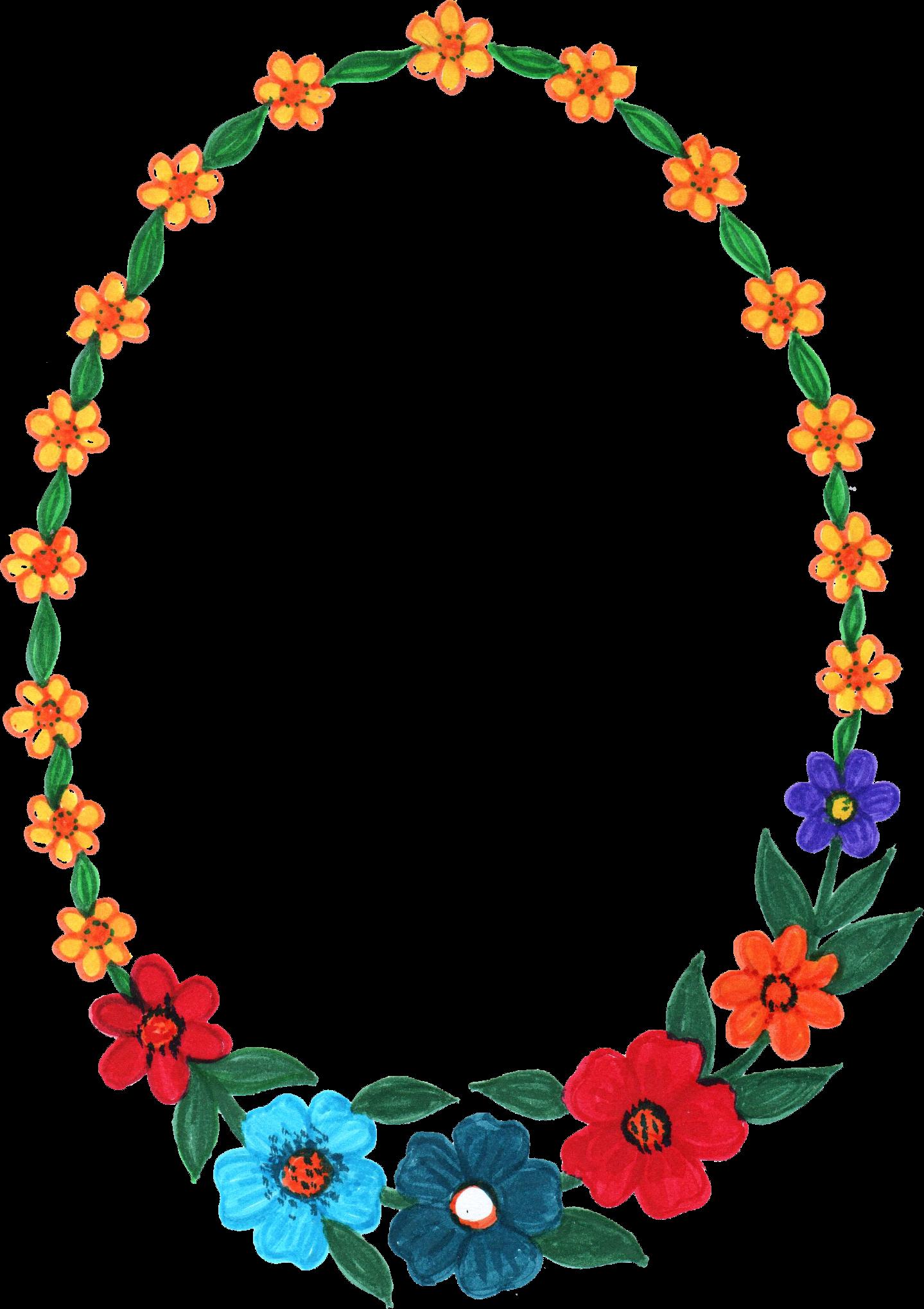 10 Oval Flower Frame (PNG Transparent) | OnlyGFX.com
