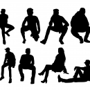 12 People Sitting Silhouette (PNG Transparent)