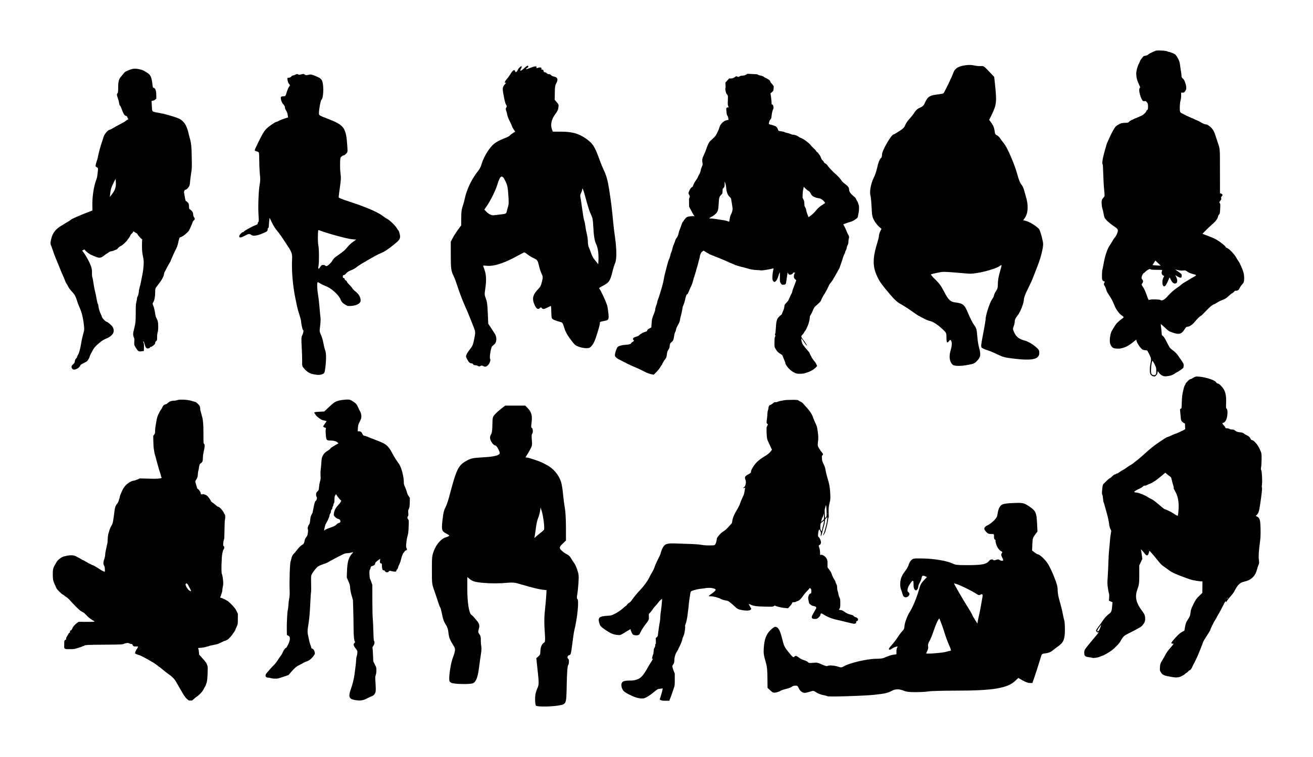 12 People Sitting Silhouette Png Transparent Onlygfx Com