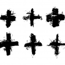 6 Grunge Plus + Sign (PNG Transparent)