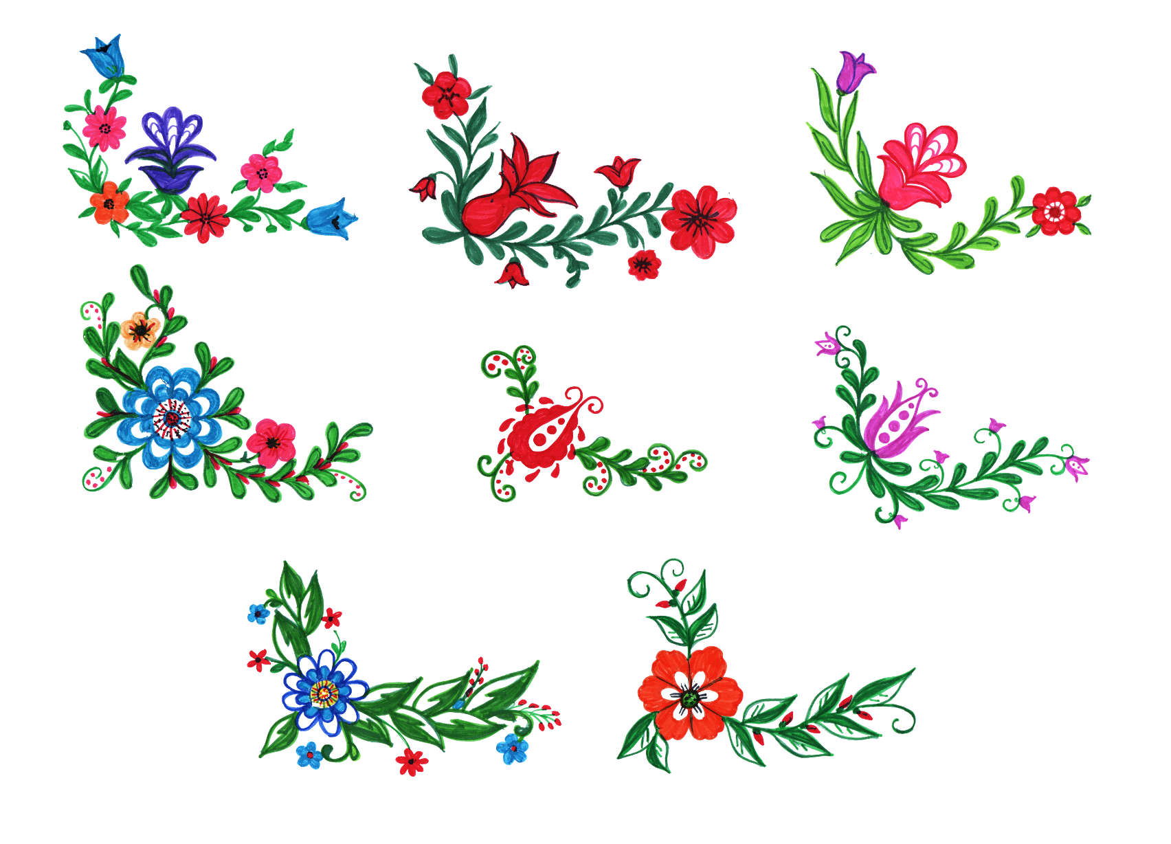 8 Colorful Flower Corner Png Transparent Vol 2 Onlygfx Com,Sample Technical Design Document Template