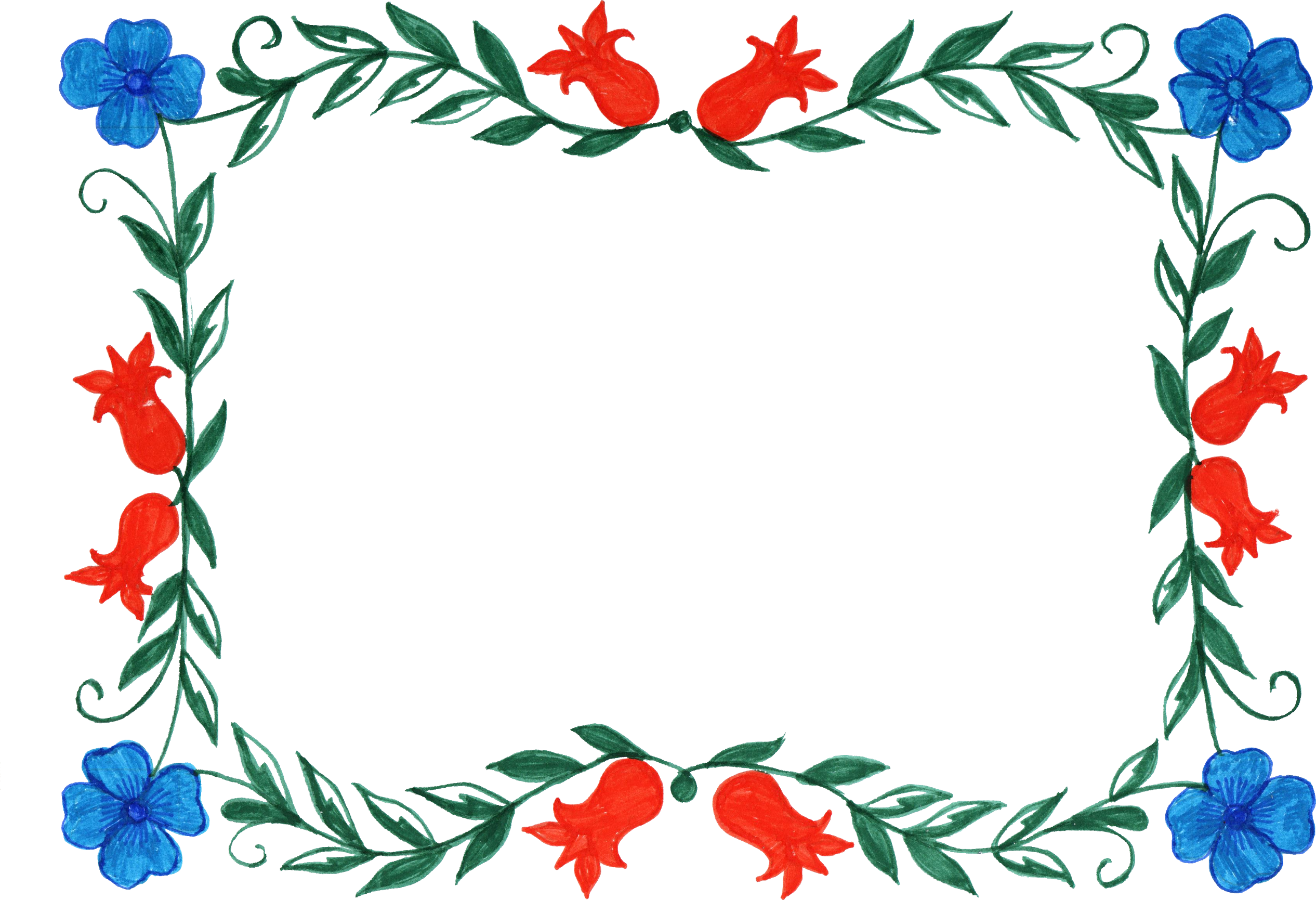 6 Flower Frame Colorful Rectangle (PNG Transparent) | OnlyGFX.com