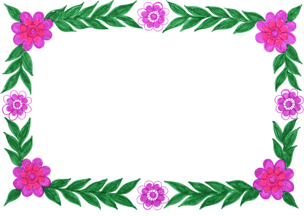 6 Flower Frame Colorful Rectangle Png Transparent Onlygfx Com
