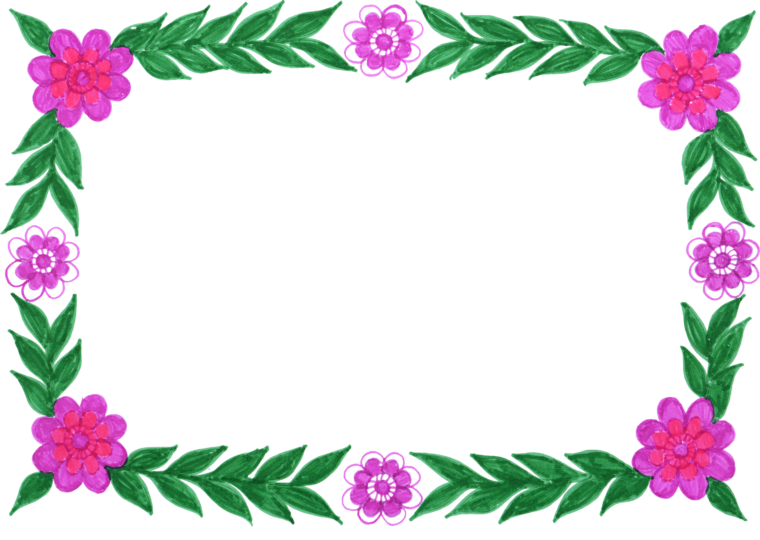 6 Flower Frame Colorful Rectangle (PNG Transparent) | OnlyGFX.com