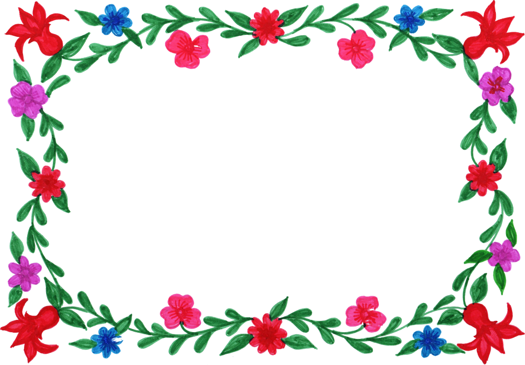 6 Flower Frame Colorful Rectangle Png Transparent Onlygfx