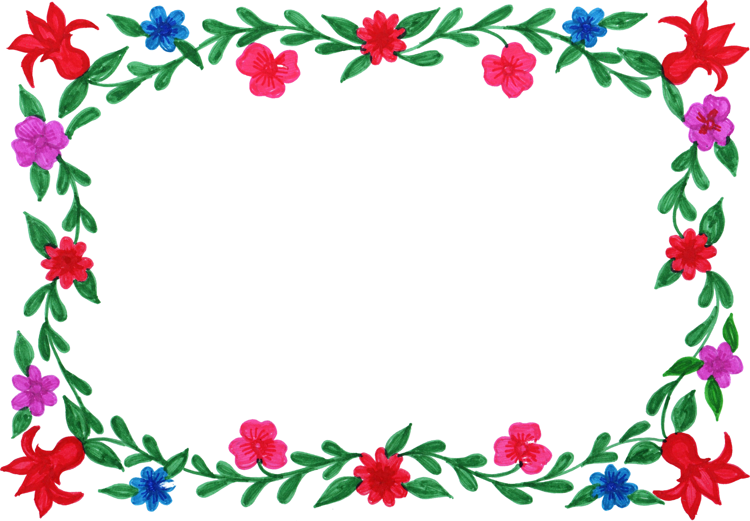 6 Flower Frame Colorful Rectangle Png Transparent