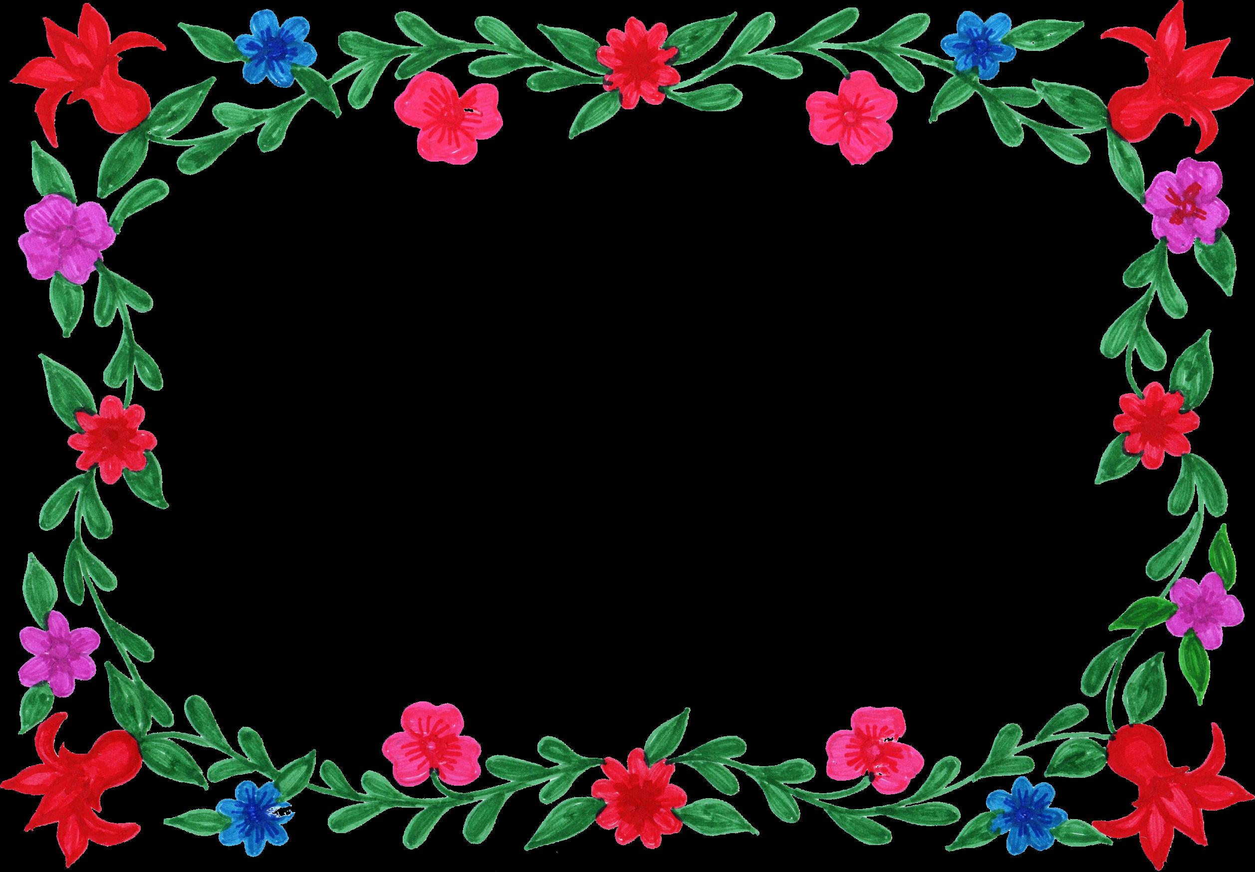 Corner Picture Frames 6 Flower Frame Colorful Rectangle Png Transparent