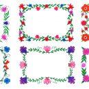 6 Flower Frame Colorful Rectangle (PNG Transparent)