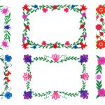 6 Flower Frame Colorful Rectangle (PNG Transparent)