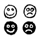 4 Grunge Smiley Happy Sad Icon (PNG Transparent)