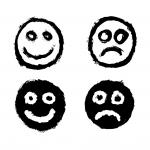 4 Grunge Smiley Happy Sad Icon (PNG Transparent)
