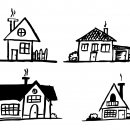 4 House Drawing (PNG Transparent)