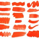 18 Orange Watercolor Brush Stroke (PNG Transparent) Vol.2